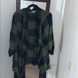 Green plaid sleeved kimono
